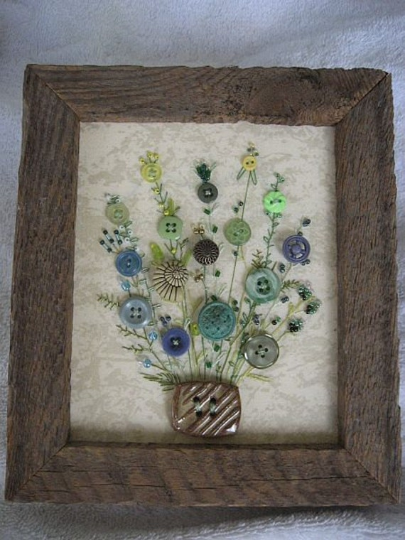 Antique Button Picture In Rustic Wood Frame