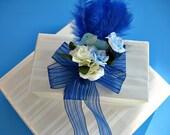 SALE - Boy's Birthday bow/ Child's birthday gift bow/ Birthday bow with blue elephant/ Happy birthday bow/ Baby birthday bow (HB25)