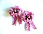 Pink zebra ribbon with small silk rose bud (SB1)