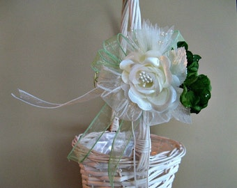 CLEARANCE Ivory and green bow for a flower girl's basket or gift wrap bow, Irish wedding bow, Wedding or bridal shower decoration (W25)