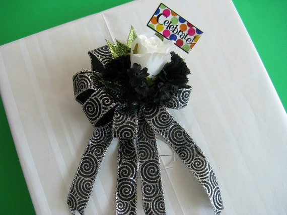 Birthday bow, Birthday gift bow, Black and white birthday bow, Gift wrap bow, Over the Hill birthday bow (HB26)