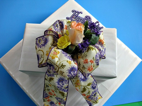 Birthday bow with peach and yellow silk roses (HB1)