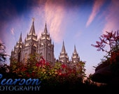 11X14 Print Salt Lake LDS Temple at Twighlight