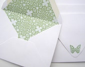 Envelopes, Set of 4: White with Green Lining - Spring, Easter, Butterfly, Letters, Paper Goods, Handmade, Snail Mail