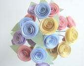 Paper Roses, Pastel: Set of 24 - Pink, Purple, Blue, Yellow, Flowers, Easter, Spring, Mother's Day, Decor, Housewares, Handmade, Blossom