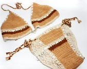 Brown Crochet Bathing Suit