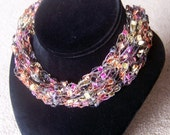 Multi-Color Ladder Yarn Necklace -- Adjustable Length