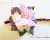 Baby Girl Felt Flower Headband, Butterfly Glitter Headband, Purple Pink Sparkle Headband