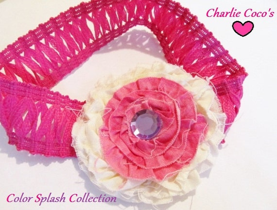 "Pink Fabric Flower Headband for Baby/ Girls, Pink, Purple, Ivory Flower Headband- ""Princess in Training"""