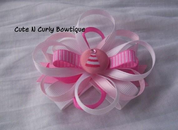 Girls Pastel Celebration Hair bow Pink White Birthday