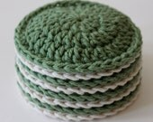Face Scrubbies, Wash Cloths, Make-up Remover Pads (100% cotton) - Set of 8