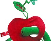 Peek-a-boo cloth: worm loves apple (with pacifier/ dummy cord)