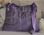 Purple Corduroy Bag With Tie As Strap
