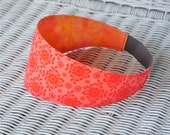 Women's Fabric Headband Reversible Pink And Orange 17
