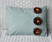 Teal Throw Pillow With Gold And Teal Satin Flowers 12 X 16