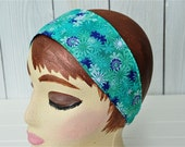 Retro Reversible Headband Women's  And Teens Turquoise Flowers And Blue Swirls 26