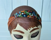 Reversible Fabric Headband Retro Flowers And Orange Circles 31