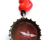 Sacred Heart Recycled Bottle Cap Necklace