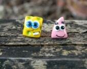 SpongeBob and Patrick polymer clay studs