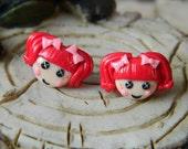 Reddish Pink doll Earrings