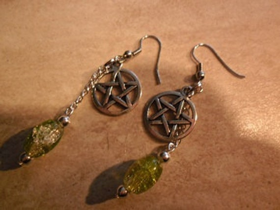 Wicca pentacle earrings sparkle beads lime green