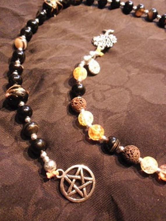 Prayer beads - wicca - witch lava and black agate stones -