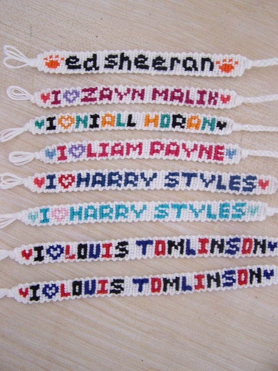 RESERVED CUSTOM ORDER for sarahpower7 - one direction handmade floss friendship bracelets
