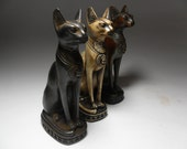 3Beautiful Amazing Handmade Ancient Egyptian Cat God Bastet Statues Scluptures