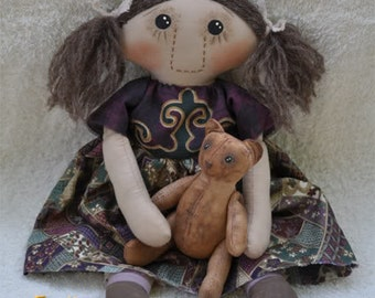 "Fretta's 12"" tall Folk Doll.  Girl & Bear. Primitive Folk Child Friendly All Natural Rag Doll. Miniature Folk Bear and a Cloth Doll"