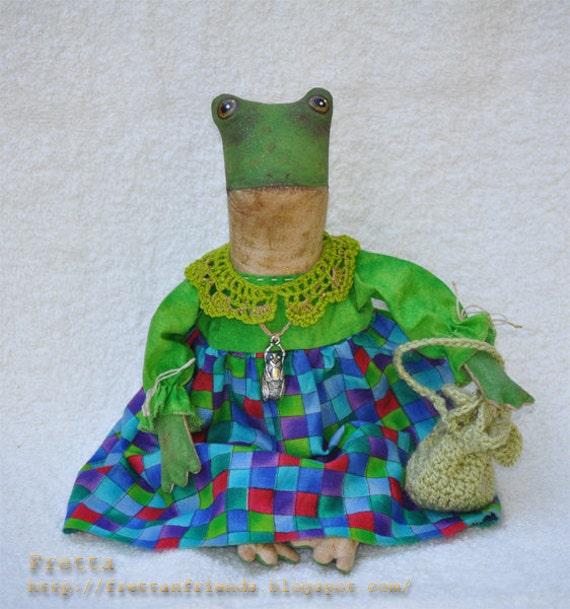 "OH HOLD for Kim. Fretta the Frog 2. 26 cm / 10"" tall  Folk, Primitive Art Doll. Fretta's original design."