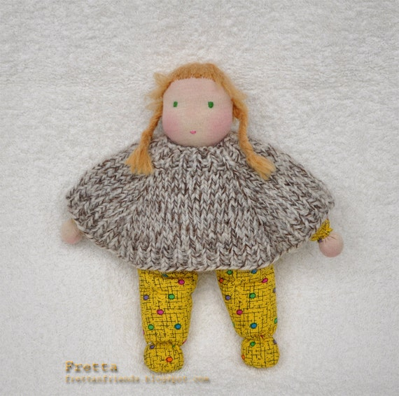 "ON SALE. Hand stitched Waldorf Little Girl 7.5"" tall"