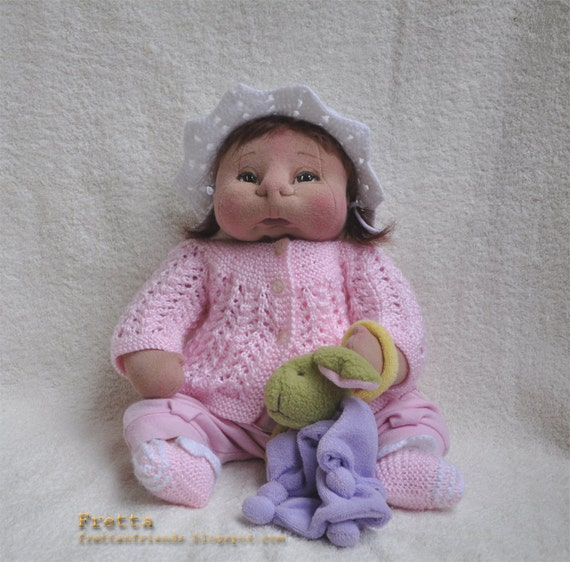 RESERVED for Heather. Soft sculptured Baby Girl in pink & her bunny