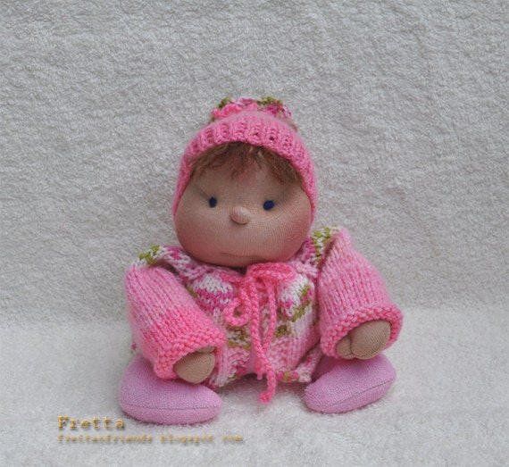 Soft Sculptured Cloth Baby Doll in Pink & Flowers. Child friendly miniature floppy Baby.
