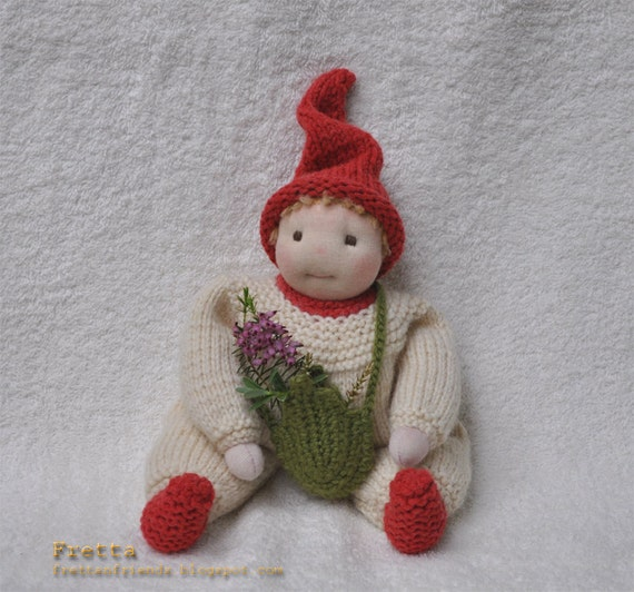 SALE. Waldorf Garden Gnome. Soft Sculptured All Natural Child Friendly Floppy Baby Doll in a Knitted Suit.