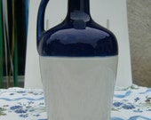"""Vintage french"""" Carafe pitcher in blue and white signed """"DOLFY """""""