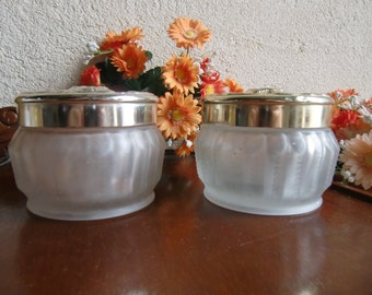 Pair of Pretty Glass Pots for Dressing Table