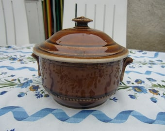 Vintage Little French Kitchen Pot In brown