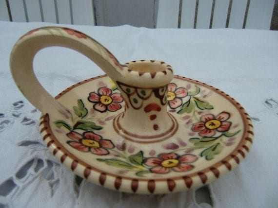Pretty Cream hand painted Chamberstick with flowers