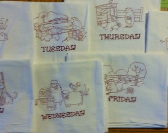 Set of Days of the Week Flour Sack Dish Towels. High quality large towels and embroidery