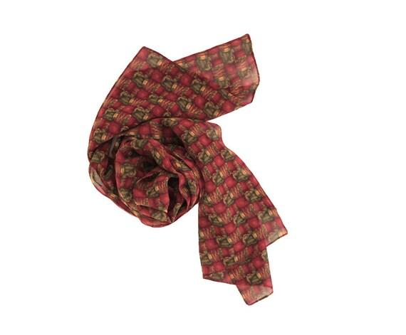 Vintage Long Silk Scarf by J. Garcia - Burgundy, Green