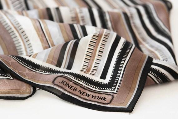 Buy 2 Get One Free - Jones New york Vintage Scarf - Cream, Brown, Black, lined