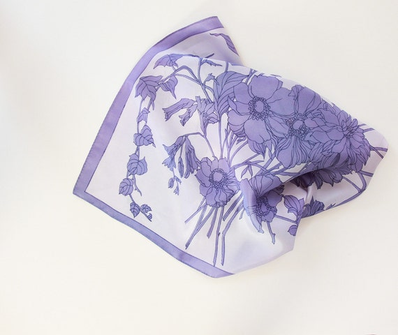 Vintage Scarf for decoration - Purple,  Floral, Square