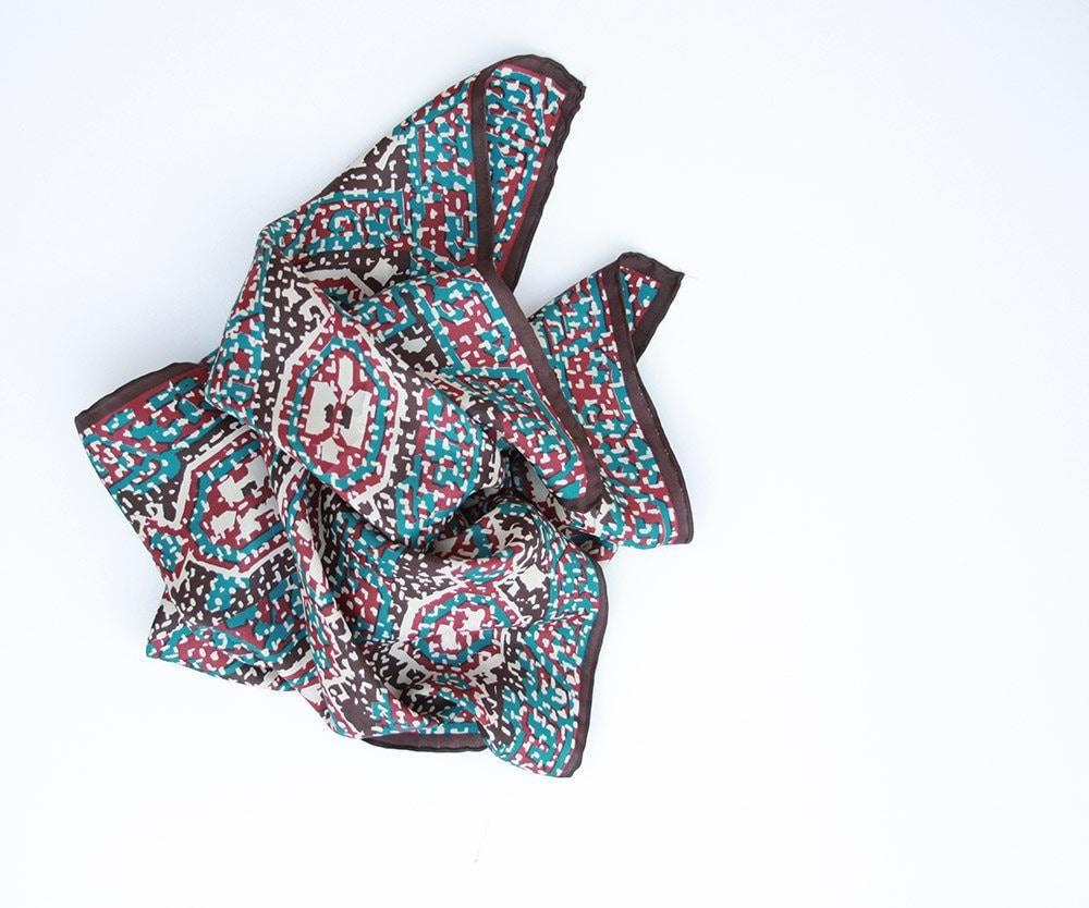 Vintage Silk Long Scarf by Glentey  Hand Rolled Blue Red Burgundy Washing Vintage Silk Scarves