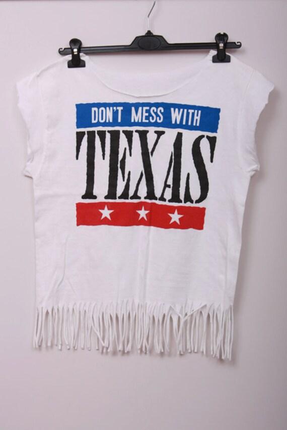 Rock'n'roll Indian T-shirt Don't MESS With TEXAS cut Women white fashionable DIY Handmade