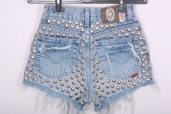 STUDDED BACK High waisted Shorts Denim Vintage Destroyed DIY Cut Off Jeans S
