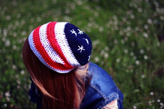 AMERICAN FLAG Beanie Crochet Hat 4th of July / Stars by ...