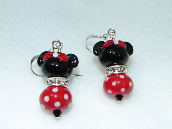 Minnie Mouse Earrings, Lampwork Earrings, Disney, Handmade, Red, Black, White, Sterling Silver Earrings, Swarovski Crystals