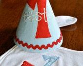 Custom Red Wagon First Birthday Party Hat and Bib Set