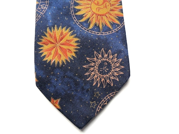 Mens Vintage Tie in Navy Blue with Celestial Symbols by Britches Great Outdoors Made in USA / Novelty Design