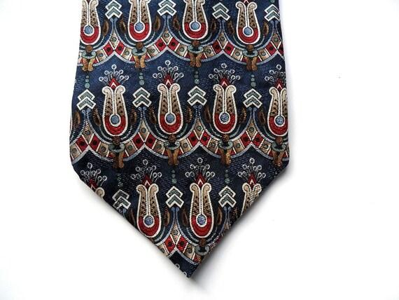 "Man's Tie / Silk / Guy Laroche / Navy Blue With Floral Print / 4"" x 56 1/2"""